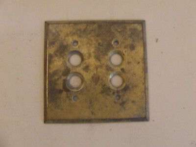 Vintage Brass Push Button Double Light Switch Plate Cover