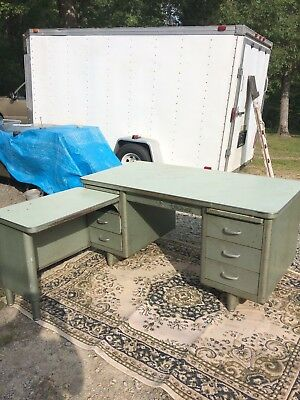 Vintage Steelcase Metal Office Desk 2 Piece L Shape Industrial Age Commercial