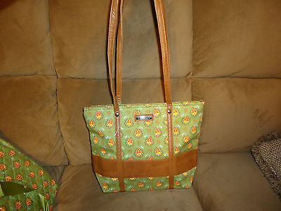 Longaberger Green Paisley Spring Tote Bag Purse-NEW