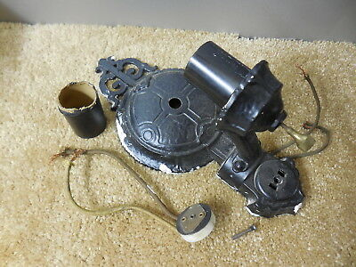 Antique Wall light fixture sconce cast iron early electric ornate gothic  design