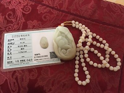 Large hetain jade pendant with certificate for action
