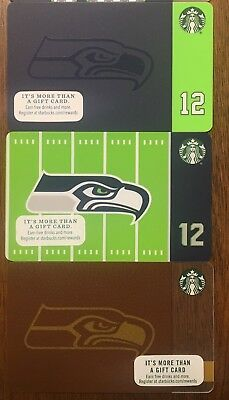 2015, 2016 & 2017 Seattle Seahawks Starbucks Gift Cards - New Unswiped