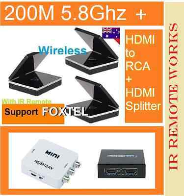 New 5.8 GHz Wireless AV Sender Transmitter IR ex 2 Receivers Foxtel IQ3 works*