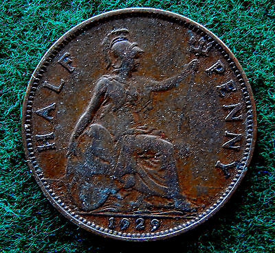 1929 UK Great Britain Half Penny Coin SB3772