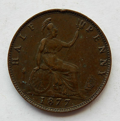 "1877 UK Great Britain Half Penny Coin ""Higher Grade"" KM#754  SB4022"