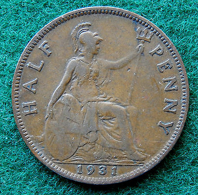1931 UK Great Britain Half Penny Coin SB3790