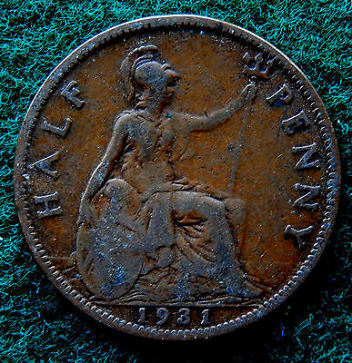 1931 UK Great Britain Half Penny Coin SB3770