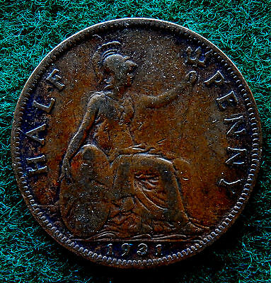 1931 UK Great Britain Half Penny Coin SB3769