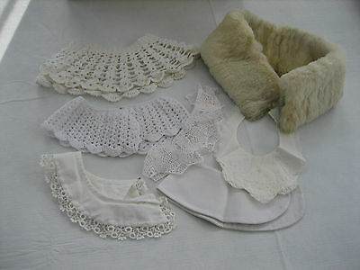 Mixed Lot Of 7 Vintage Collars - Including Fur, Crochet, Fabric, Baby Linen etc