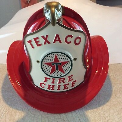 Vintage 1960's Texaco  Fire Chief Hat w/ mic & speaker + box and instructions