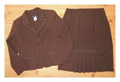 Women's SPAGO 2pc Suit Brown Long Sleeve Blazer Jacket and Pencil Skirt Size 14