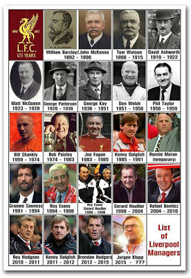 """List of Liverpool FC Managers Fridge Magnet Size 2.5"""" x 3.5"""""""