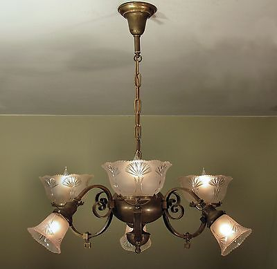 SPECTACULAR! Antique c. 1890's Gas Electric 6 Arm Light Fixture - RESTORED!