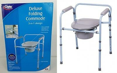 Carex Deluxe Folding Commode 3 in 1 Design X-Long Seat Height Adjustment Camping