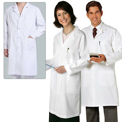 White Unisex Hospital Uniform Lab Coat Elastic Doctor Medical Coat Healthcare