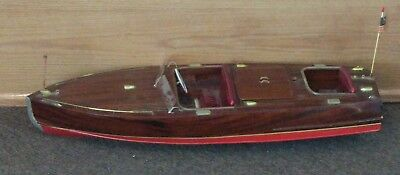 "VINTAGE Runabout Wood Model 28.3/4"" Classic Mahogany Racing Speed Boat  ELECTRIC"