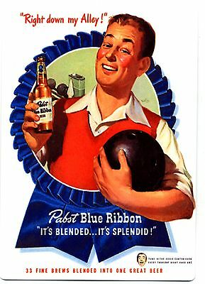 Pabst Blue Ribbon Beer METAL bier sign - Retro Bowling Image - PBR