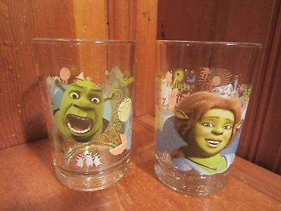 Set of 2 McDonalds 2007 Dreamworks Shrek the Third Tumbler Glasses Fiona EUC