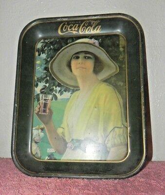 Vintage Collectible Coco Cola Tin Tray w/ Girl Drinking from Glass Men Golfing