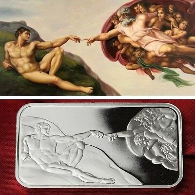 The Creation of Adam  Bullion / 1 Troy oz  .999 Fine Silver Bar  /    SB1F4