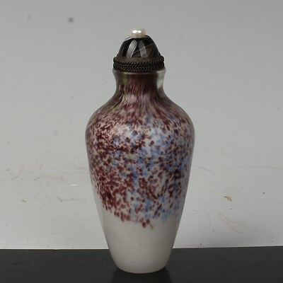 China Exquisite Handmade Colorful pattern Glass snuff bottle