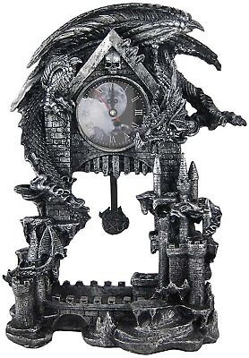 Dark Times Gothic Dragon Clock Medieval Resin Figurine