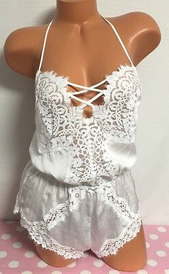 NWT Victoria's Secret ~ I DO~  Lace One Piece Romper Teddy Lingerie ~ Medium