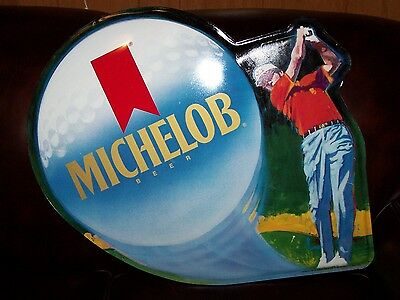"Collectible Michelob Golfer Golf Ball Tin Metal Beer Sign 25"" X 22"""