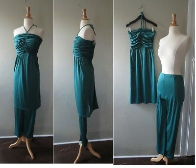Vtg 1960s Great Vibes by Clement pine Green Tunic over Pants set, XXS XS