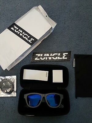ZUNGLE Panther sunglasses BRAND NEW grey frame, blue lens