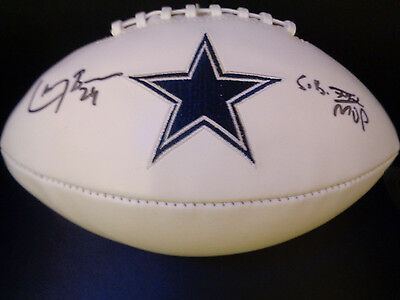 Dallas Cowboys Larry Brown Autographed Full Size Football SB MVP JSA Witness COA