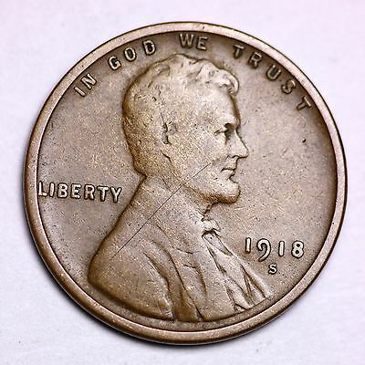 1918-S Lincoln Wheat Cent Penny LOWEST PRICES ON THE BAY!  FREE SHIPPING!