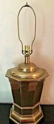 Vintage Large Heavy Brass Table Lamp W/ Wood Base By Frederick Cooper Chicago