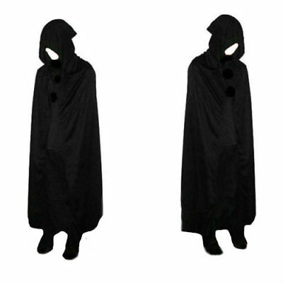 Halloween Men Women Hooded Black Cloak Cosplay Costume Festival Cape