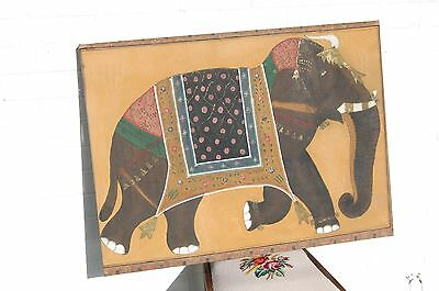 Large antique Indian painting of a sacred elephant in festival adornment.