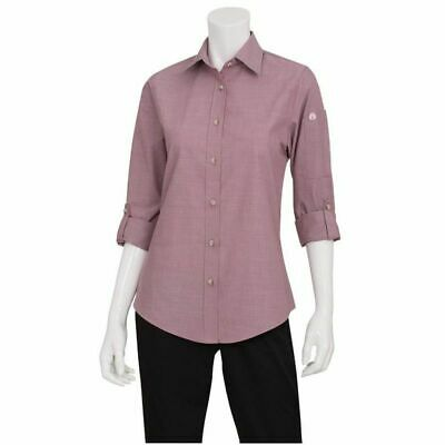 Chef Works Womens Chambray Dusty Rose Shirt