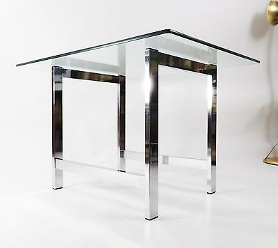 Vintage Mid Century Modern Chrome Frame Glass Top Style of Baughman Side Table