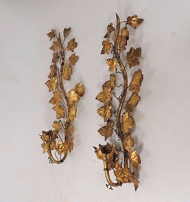 Vintage Pair Hollywood Regency Gilt Tole Sconces Vines Wall Art Sculpture Italy