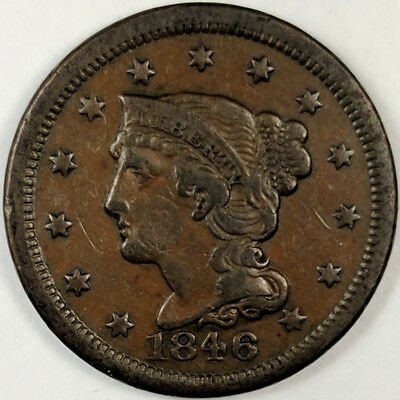 1846 Braided Hair Liberty Head Large Cent - Nice Us Copper Coin