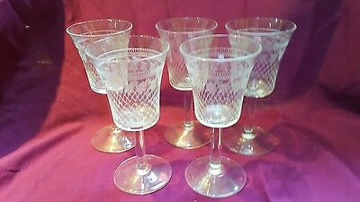 Five  Vintage Pall Mall Port/ Sherry glasses