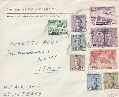 1956 IRAQ/IRAK - Air mail commercial cover to Italy, very fine