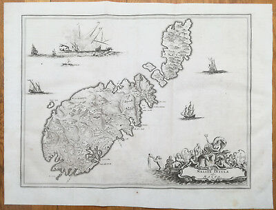 Dapper Large Original Map Melite Insula Malta - 1686