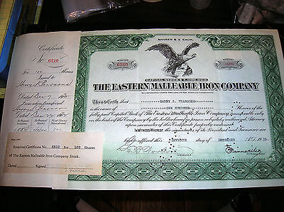 Oe1012      The Eastern Malleable Iron Co. 1935 Vintage Stock Certificate