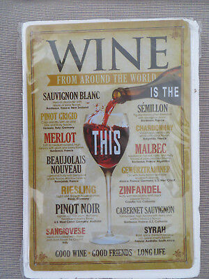 Wine From Around The World Metal Tin Sign Retro Home Pub Restaurant Bar