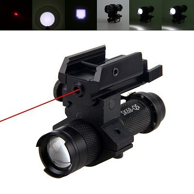 Red Dot Laser Sight Scope 20mm Zoomable 5000LM XPE LED Flashlight Lamp Mount New