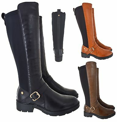 Ladies Womens Double Elastic Wide Calf Flat Buckle Riding Stretch Boots Size 2-8