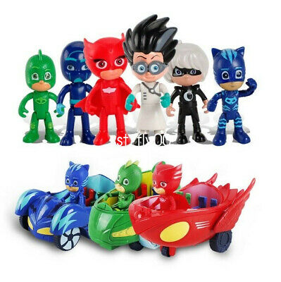One set PJ Masks Toy Catboy Owlette Gekko Cloak Action Figures Kids Toys + Car