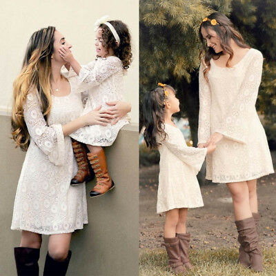 Family Matching Dresses Mother&Daughter Women Girls Lace Dress Party Long Sleeve