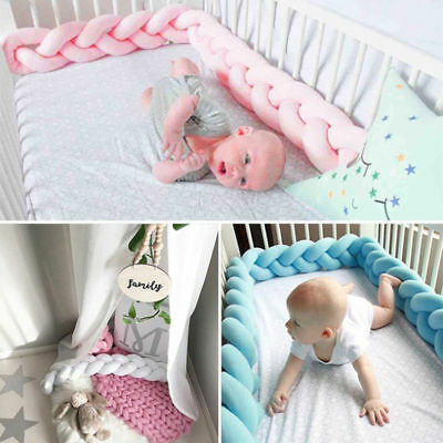 Infant Crib Bumpers Baby Bed Cot Soft Plush Braid Pillow Pad Protection Doll US
