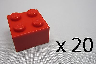 20, Lego 2 x 2 Bricks - Red